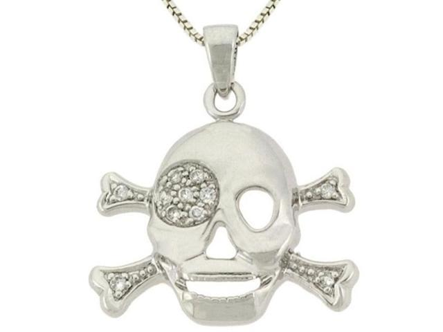 Sterling Silver CZ Skull and Crossbone Pendant