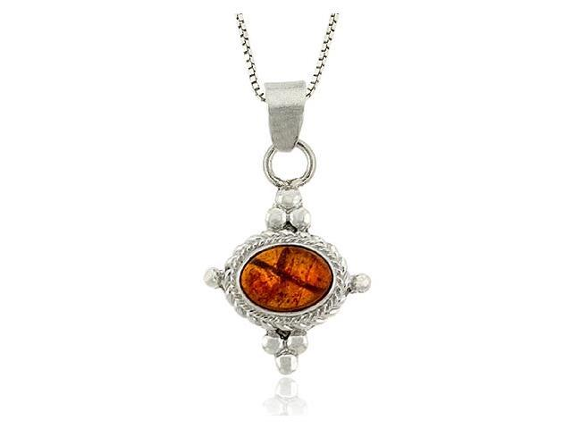 Sterling Silver .925 Bali Bead Genuine Oval Amber Stone Pendant