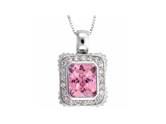 Sterling Silver Pink Cubic Zirconia and Simulated Diamond CZ Square Pendant
