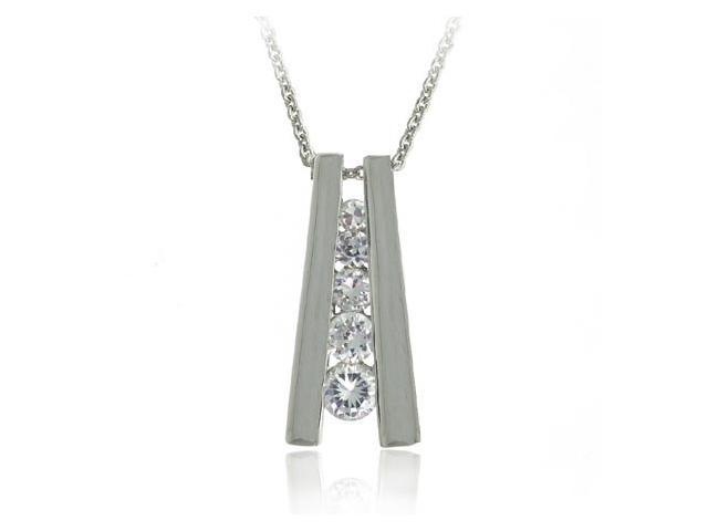 Sterling Silver Cubic Zirconia 5-Stone Journey Pendant