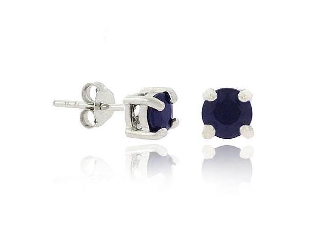 Sterling Silver .925 Genuine Black Sapphire 5mm Stone Prong Round Stud Earrings