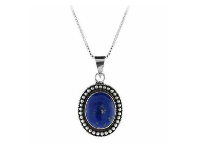 Genuine Lapis Stone Sterling Silver Bali Beaded Oval Pendant