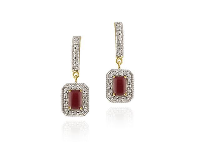 18K Gold over Sterling Silver Ruby & Diamond Accent Rectangular Dangle Earrings