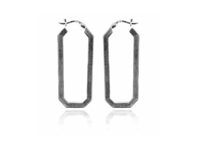 Sterling Silver Oblong Hoop Earrings
