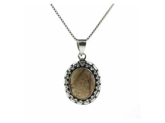 Sterling Silver Bali Bead Genuine Picture Jasper Stone Oval Pendant