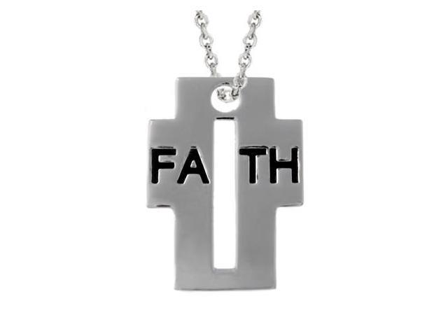 Sterling Silver Inspirational 'Faith' Cross Pendant
