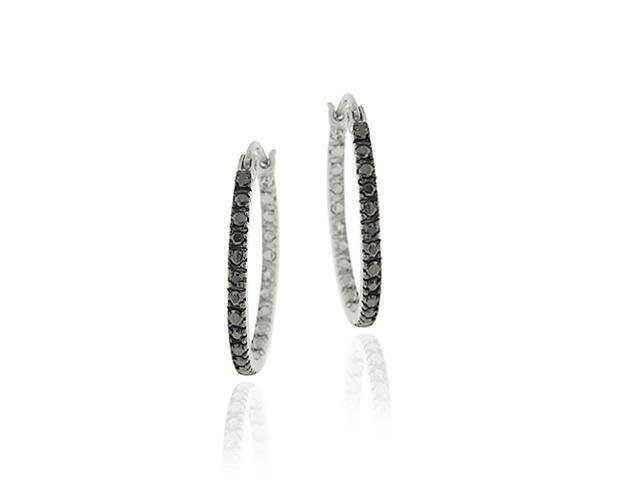 Sterling Silver Black Diamond Accent 25mm Hoop Earrings
