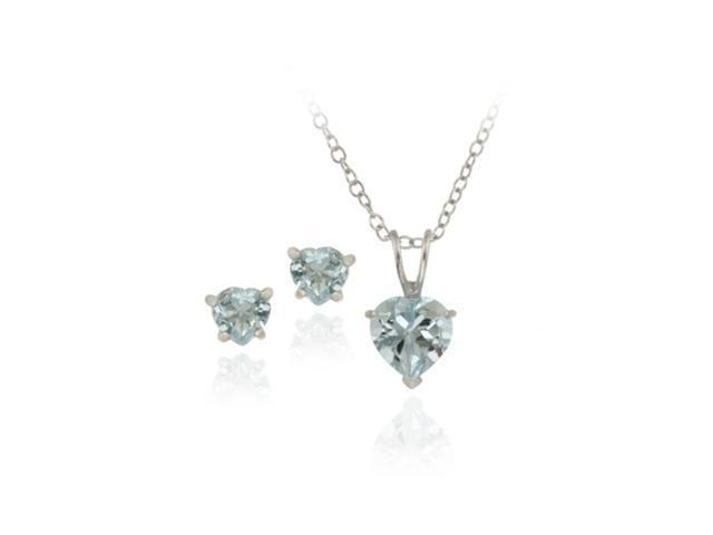 Sterling Silver 2.4ct TGW Blue Topaz Heart Solitaire Pendant & Stud Earrings Set