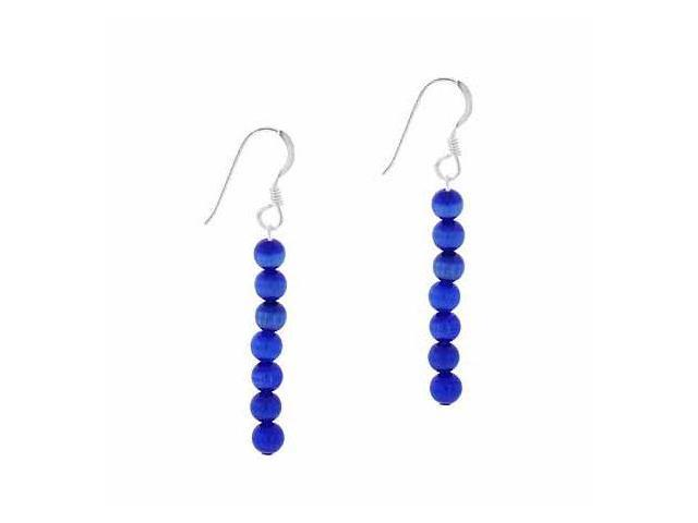 Sterling Silver 4mm Dark Blue Simulated Cats Eye Stone 6 Bead Beaded Dangle Hook