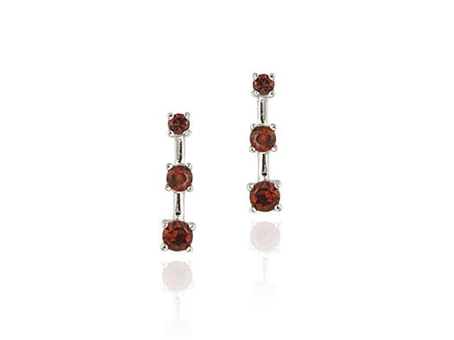 Sterling Silver Genuine Garnet Past Present Future Earrings