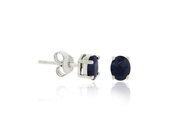 Sterling Silver .925 Genuine Sapphire Stone Oval Prong Small 6x4 Stud Earrings