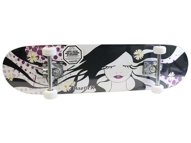 "RazorX 99916 B&W Daisy 31"" Girls Teen Double Kick Skateboard Ride On Complete"