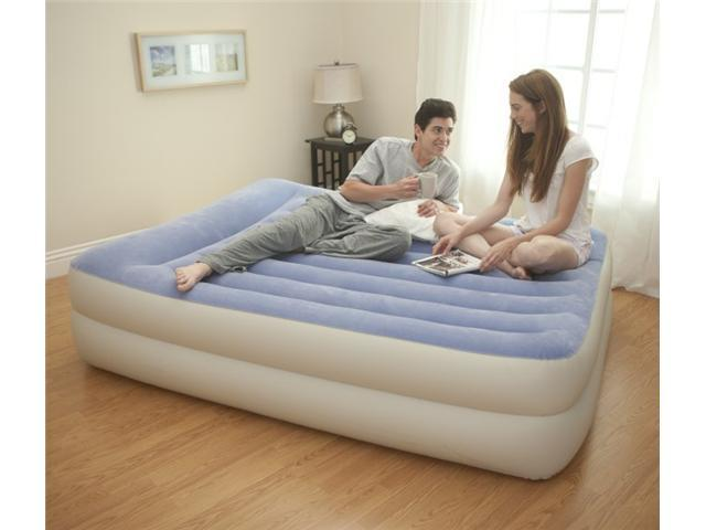 INTEX Queen Pillow Rest Airbed Air Mattress Bed with Built-In Pump | 67713E