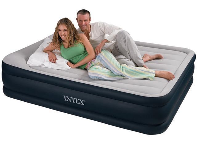 INTEX Queen Pillow Rest Raised Air Mattress Bed w/ Pump