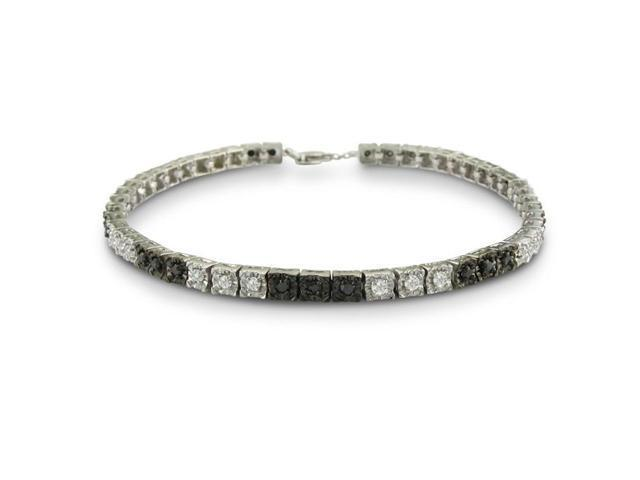 1ct Black and White Diamond Tennis Bracelet in Sterling Silver