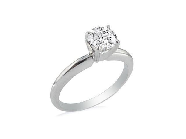 1.25ct Round Diamond Solitaire Ring in 14k White Gold, I , I1
