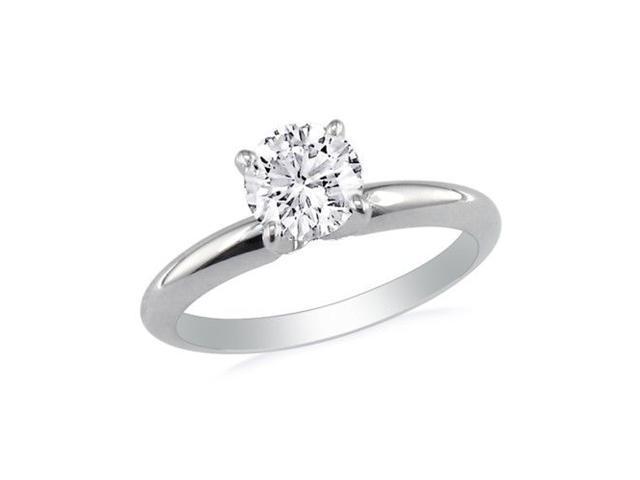 1ct Round Diamond Solitaire Ring in 14k White Gold, I/J, I1/I2