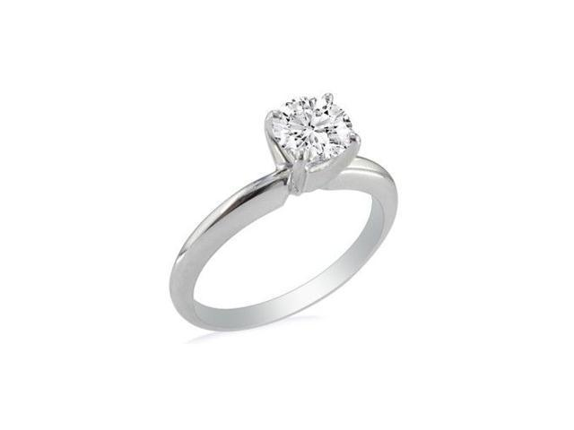 1ct Round Diamond Solitaire Ring in 14k White Gold, I, I2/I3