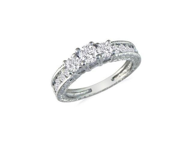 1/4ct Starter Antique Style Three Diamond Ring in 10k White Gold