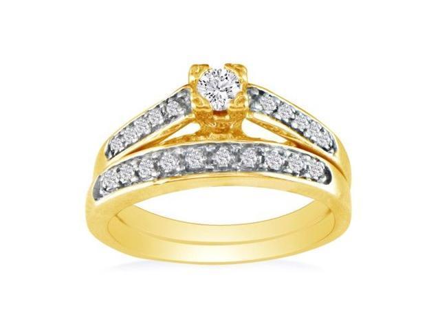 1/4ct Ladies Traditional Diamond Bridal Set, 10K Yellow Gold