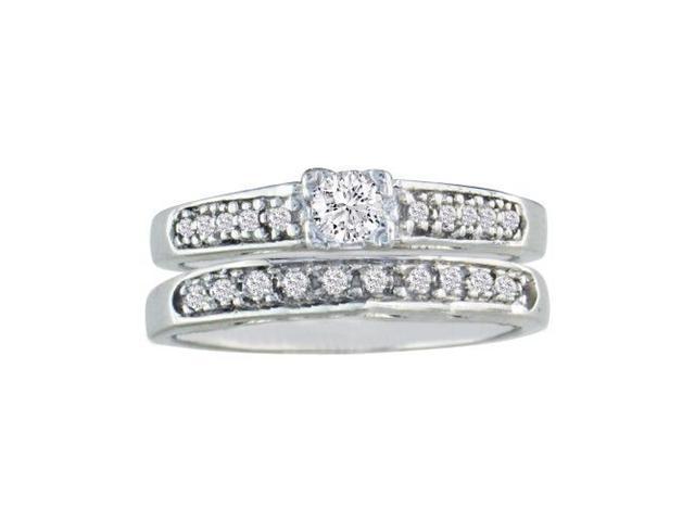 1/2ct Ladies Traditional Diamond Bridal Set, 10K White Gold