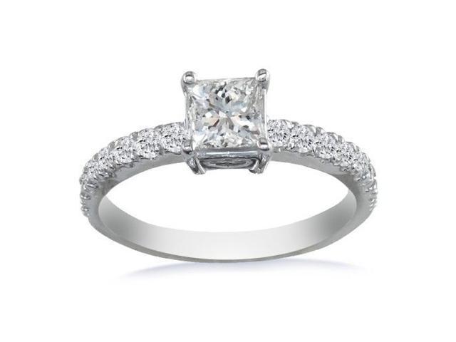 Dainty 14K White Gold 3/4ct Princess Cut Engagement Ring
