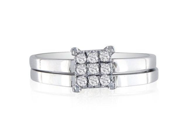 1/7ct Lovely Diamond Bridal Set in 10k White Gold