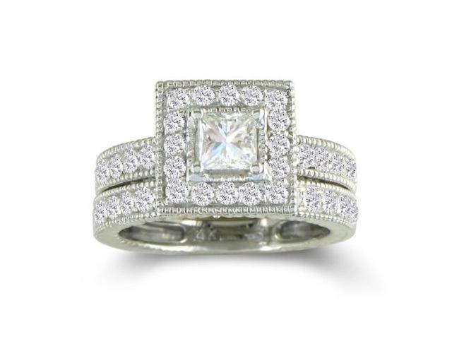 1 1/2ct Princess Diamond Bridal Set in 14k White Gold
