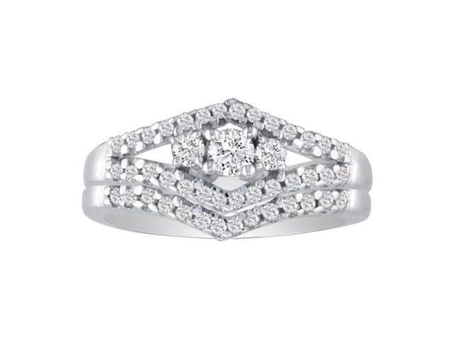 1/2ct Split Shank Three Diamond Plus Bridal Set in 10k White Gold
