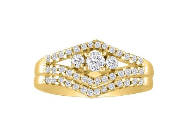 1/2ct Split Shank Three Diamond Plus Bridal Set in 10k Yellow Gold