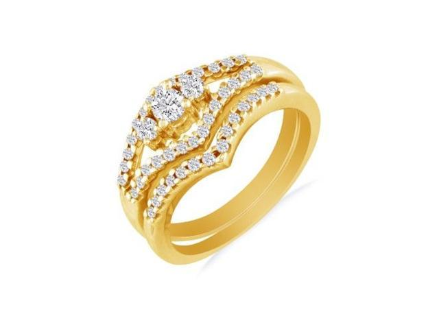 1/2ct Split Shank Three Diamond Plus Bridal Set in 10k Yellow Gold