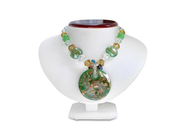 Green Circular Murano Glass Pendant on Beaded Chain