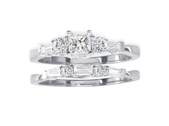 2/3ct Diamond Bridal Set With 1/4ct Center Diamond in 14k White Gold