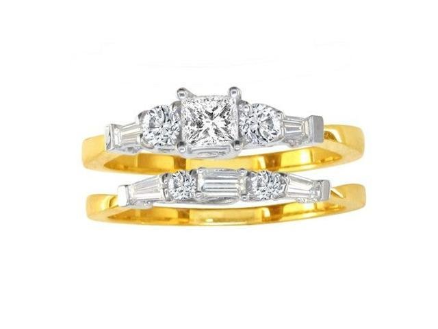 2/3ct Diamond Bridal Set With 1/4ct Center Diamond in 14k Yellow Gold