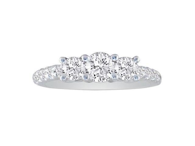 3/4Three Diamond Bridal Set with Diamonds on Band in 14k White Gold