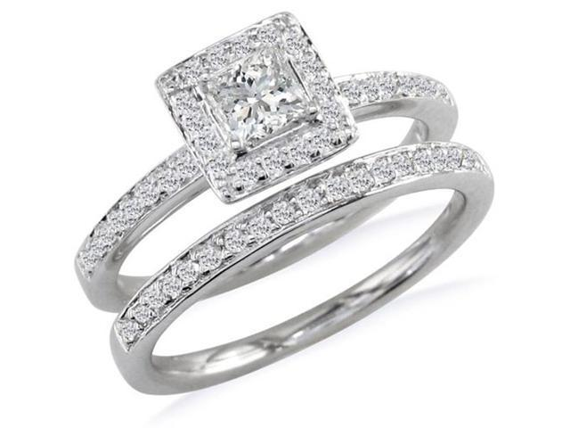 Gorgeous 1/2ct Pave Diamond Bridal Set, Princess Center in 14k WG