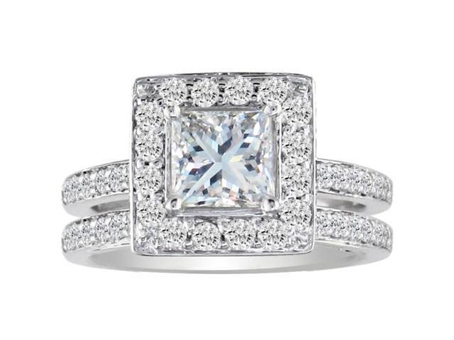 1 1/2ct Princess Cut Pave Diamond Bridal Set in 14k White Gold