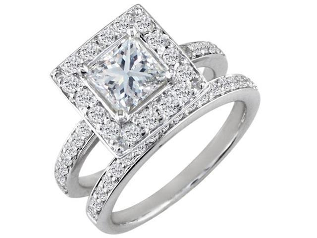 1 1/2ct Princess Cut Pave Diamond Bridal Set in 14k White Gold