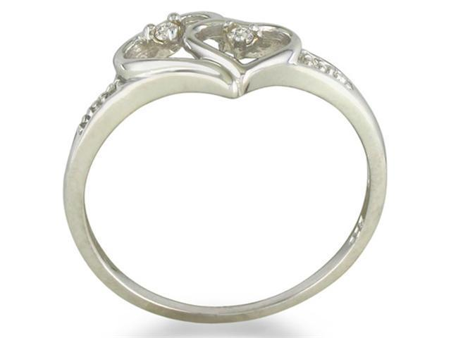 Double Heart Diamond Promise Ring in Sterling Silver in Sizes 4-9.9