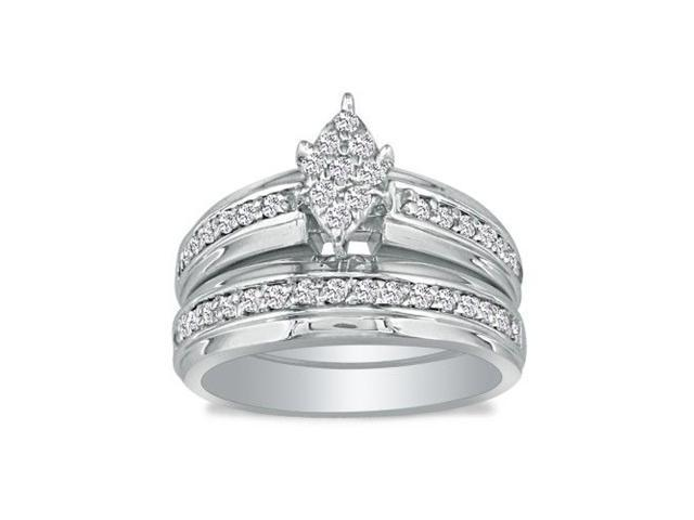 1/2ct Princess Shaped Head Diamond Bridal Set in 10k White Gold