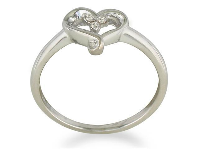 Perfect Three Diamond Heart Promise Ring in Sterling Silver