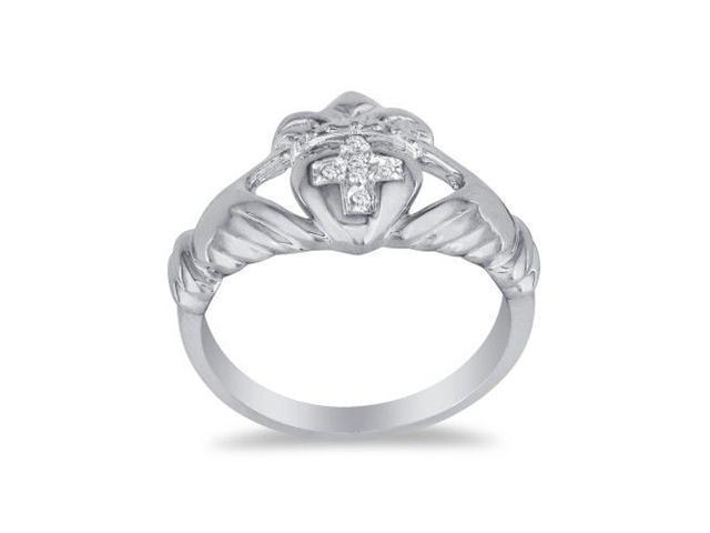 Heavy Ladies Claddaugh Diamond Ring in 14k White Gold