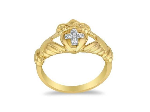 Heavy Ladies Claddaugh Diamond Ring in 14k Yellow Gold