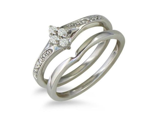 Affordable Diamond Bridal Wedding Set in Sterling Silver