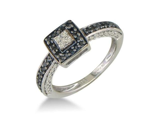 .40ct White and Black Diamond Engagement Ring in Sterling Silver