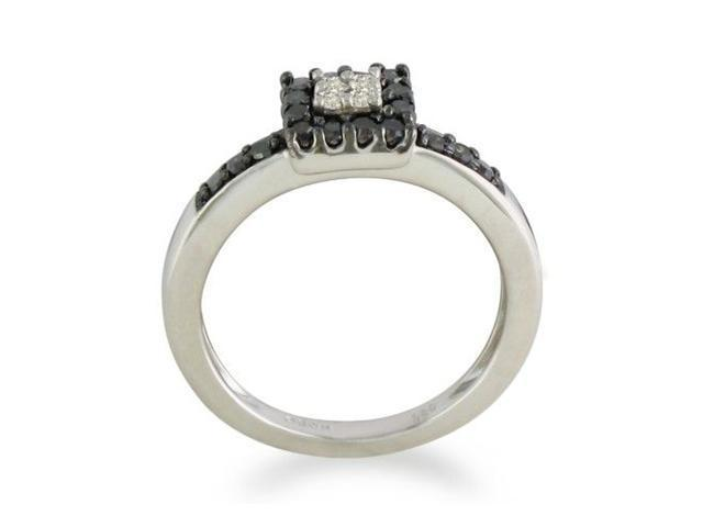 1/3ct White and Black Diamond Engagement Ring in Sterling Silver