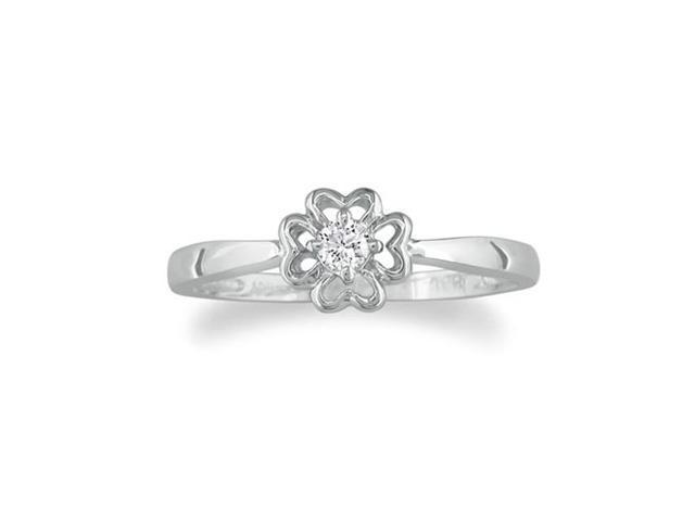 Flower Shaped Diamond Promise Ring in Sterling Silver
