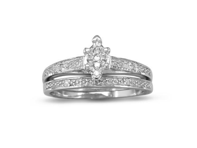 Marquise Shaped Diamond Bridal Set in Sterling Silver