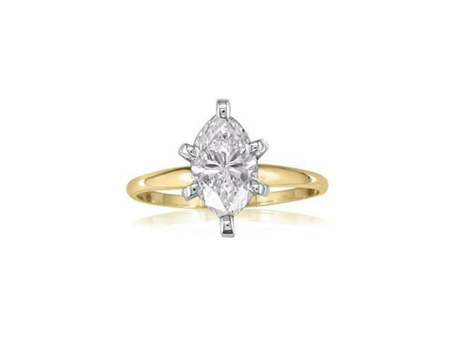 1ct Marquise Diamond Engagement Ring, Yellow Gold