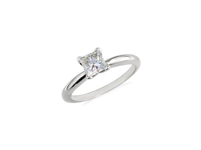 1/2ct Platinum Princess Diamond Solitaire Engagement Ring,G/H SI1
